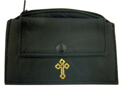 Black Leather Rosary Case with Zipper Snap Closure and Gold Budded Cross Design