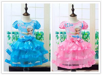 Anna Tutu Dress (Kids Girls Princess Anna Queen Elsa Costume Short Sleeve Party Tutu Dress)