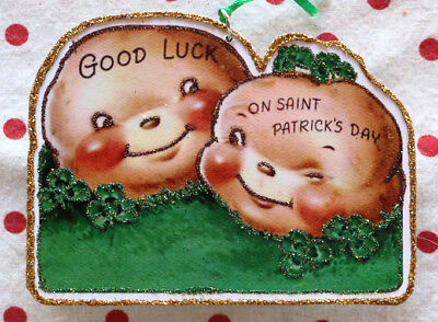 Glittered Wooden St Patrick's Day Ornament~Potatoes~ Vintage Card Image