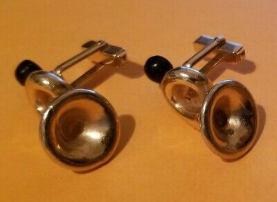 VINTAGE ANSON FRENCH HORM CUFF LINKS BIKE HORN EX CONDITION