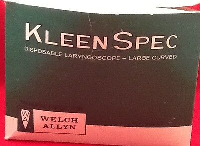 New Box Of 10 Welch Allyn Disposable Laryngoscope Sz. Large Curved Ref 56903
