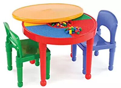 Kids Activity Table With Storage & Two Sturdy Chairs Building Blocks Compatible (Kids Activity Table Storage)