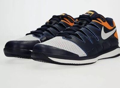 new product 8151d d3d39 NIKE Men SZ 9.5Air Zoom Vapor X HC Tennis Shoes Blackened Blue Orange  AA8030-400