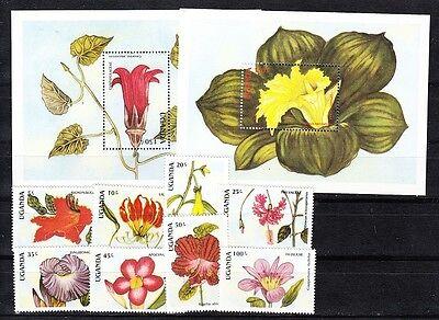 Uganda Scott 612-621 Mint NH (Catalog Value $13.90) Flowers