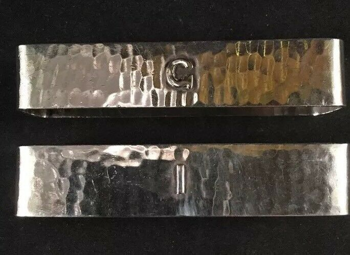 Pair Of Arts & Crafts Sterling Silver Napkin Rings By Lebolt