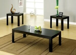Coffee Table 2 End Tables Side 3 Piece Set Modern Black Furniture Living Room