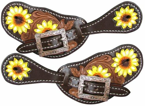 Showman Ladies Hand Painted Sunflower Leather Spur Straps
