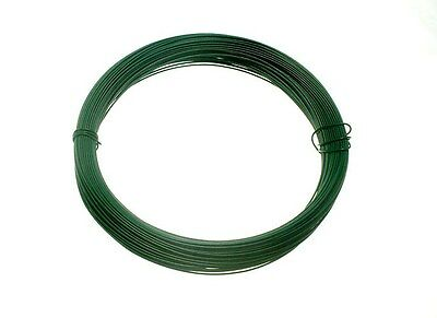 PACK 10 ROLLS GREEN PLASTIC COATED GARDEN WIRE 0.75MM X 30M