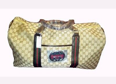 Gucci Vintage Monogram GG Brown Overnight Travel Duffel Carry-on Bag