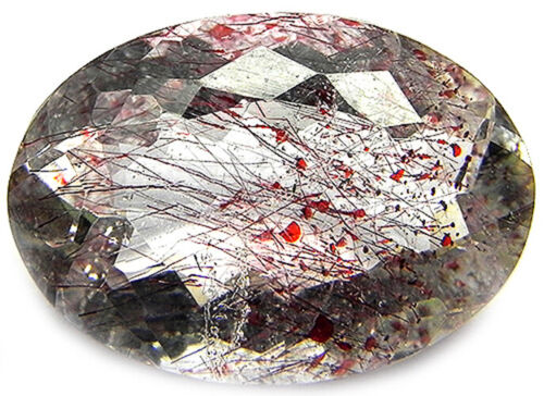 7.80CTS VERY BEAUTIFUL SUPER SEVEN LEPIDOCROCITE STRAWBERRY QUARTZ CUT GEMSTONE