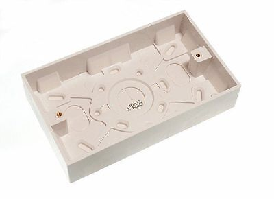 NEW 50 X DOUBLE SURFACE MOUNT ELECTRIC BACK BOX 2 GANG 35MM