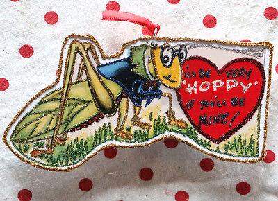 Glittered Wooden Valentine Ornament~Grasshopper~ Vintage Card Image