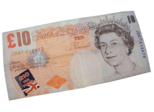 £10 Ten Pound Bank Note Money Design Novelty Gift Kitchen Tea Towel 34 X 70cm