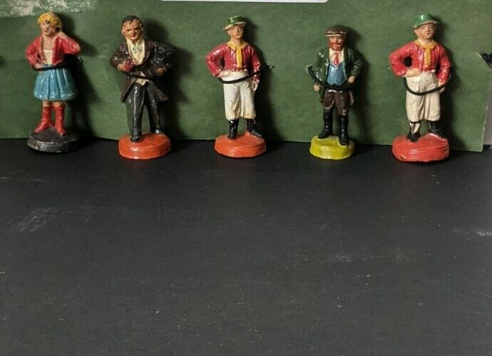 Antique Old German Composition Villagers Figures In Native Costumes Numbered