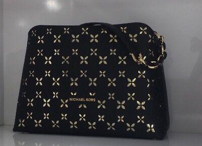 Michael Kors Portia Large Saffiano Black Satchel Crossbody Handbag Perforated