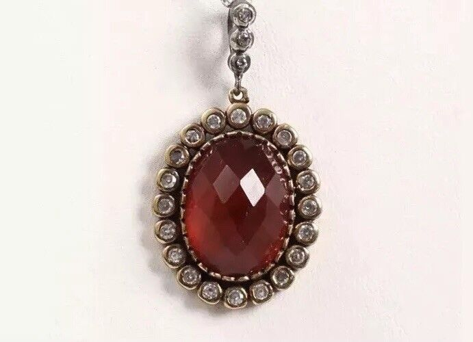 Antique Vintage 925 Silver Ruby Pendent