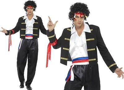 Herren 80er Jahre Neu Romantische Maskenkostüm Adam Ant Outfit - Schwarz Adam Kostüm
