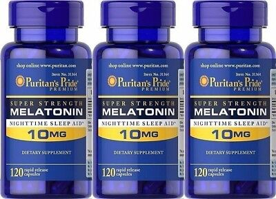 360 Capsules Puritans Pride Super Strength Melatonin 10 Mg Nighttime Sleep Aid