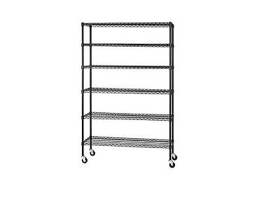 NEW Wire 6 Shelf Adjustable Shelving Unit with Casters 48 x 18 BLACK Mobile