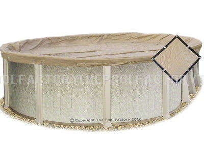 - 10x16 Oval Tan Ultimate Guard Winter Pool Cover - Extra Heavy Duty - Bound Edges