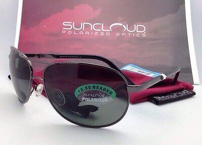 SUNCLOUD POLARIZED OPTICS Sunglasses AVIATOR Gunmetal w/ Grey +2.5 READER Lenses