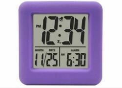 Equity by La Crosse Technology Purple Alarm Clock LCD Digital Ascending Alarm