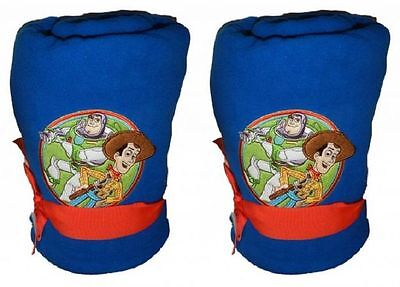 "Lot of 2 -Boys Disney 50""x60"" Toy Story BUZZ WOODY - Baby Christmas blanket"