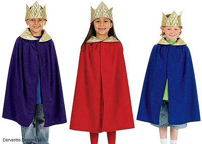 Kings Crown Kostüme (Kids Royal King Queen Boys Girls Medieval Cape Crown Costume Outfit New Age 4-9)