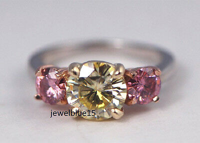BEAUTIFUL+2.50+ct+Light+Yellow+%26+PINK+3+MOISSANITE.925+SILVER+ENGAGEMENT+RING
