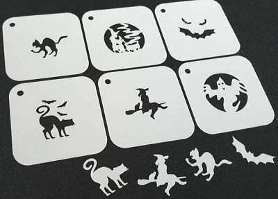 #3 Set of 6pcs HALLOWEEN Reusable Stencils Witch Broom Bat Cat Ghost Face Paint