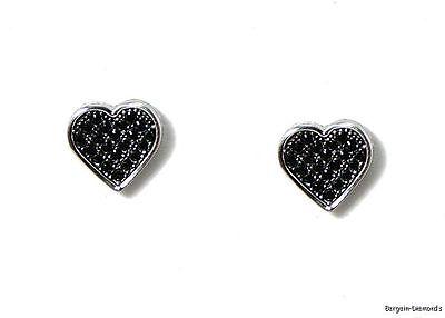 9x9 Black Cz 925 White Heart Hip Hop Screwback Studs Micro Pave Men Ladies Teen