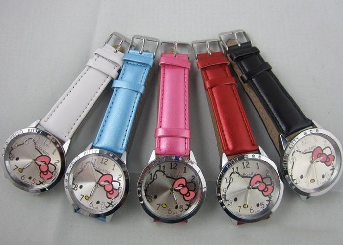 New Cute Girl Boys Kids Faux Leather Cartoon Face Analog Quartz Wrist Watch Gift
