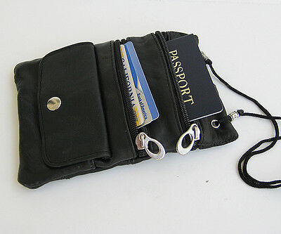 4x Black Passport Leather Id Holder Neck Pouch Travel Neck Strap