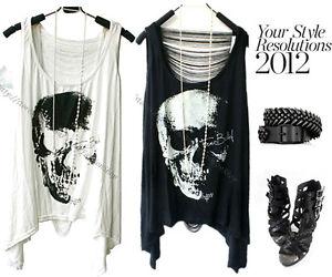 Womens-Open-Back-Cut-Out-Fringe-Skull-Asymmetrical-Tee-Loose-Tank-Tops-T-Shirt
