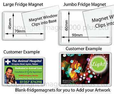 Blank Photo Fridge Magnets (Packs 1, 5, 10, 25) (Large, Jumbo) Acrylic Clear