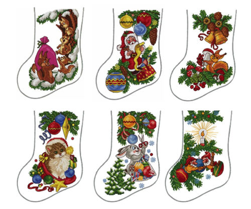 "ABC Designs 6 Christmas Stockings Machine Embroidery Designs Cross Stitch 5""x7"""