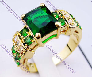 G024 Jewelry Brand new emerald lady's 10KT yellow Gold Filled Ring sz6/7/8/9/10