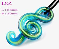 Murano Lampwork glass Music Note Pendant Chain Necklace