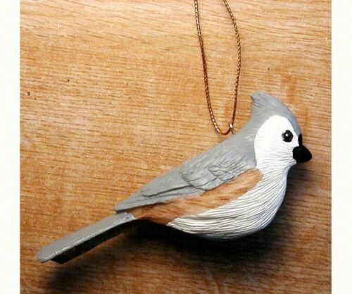 Polyresin decorative bird Ornament  - Tufted Titmouse  - FWC104