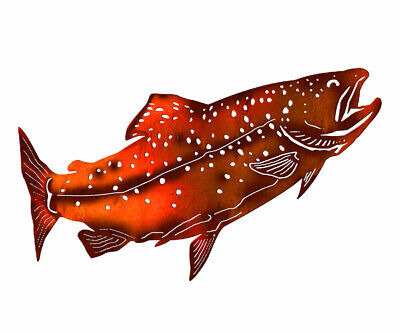 Salmon Fish Metal Sign Infused With Real Copper Finish. NOT 100% COPPER. 20x12 ()