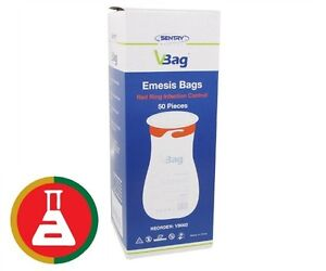 50 X VOMIT BAGS FIRST AID EMESIS RED RING TWIST & SEAL HIGH QUALITY BEST PRICE
