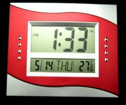 New Trendy Digital Multi Functional Wall Clock Silver/Red Color