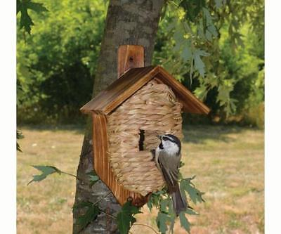 POST MOUNTED GRASS TWINE ROOSTING POCKET BIRDHOUSE with ROOF, SE934