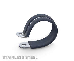 10x13mm Rubber Lined PClips Stainless Steel - P Clips Metal Clamp Retaining Hose