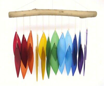 Handcrafted Wind Chime Sandblasted  Glass  .- Rainbow  & Driftwood   - GEG442 ()