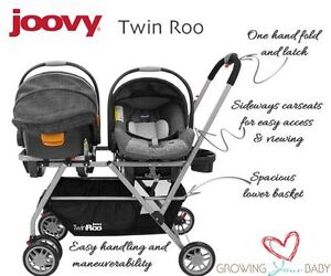 Pousette Joovy Twin Roo + 2 coquilles Chicco Keyfit30