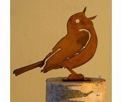 Elegant Garden Singing Warbler Bird Silhouette Rusty Metal Rustic Art Made USA