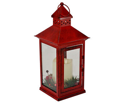Holiday Berry and Pine Ring Red 13.5 LED Lantern - MFLNT135HBRT Low Voltage Glass Ring