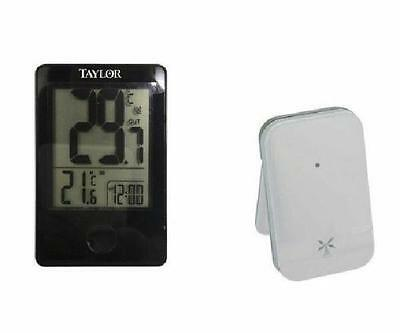 Taylor Weather Guide Wireless Remote Thermometer Indoor Outdoor Temp F C Clock