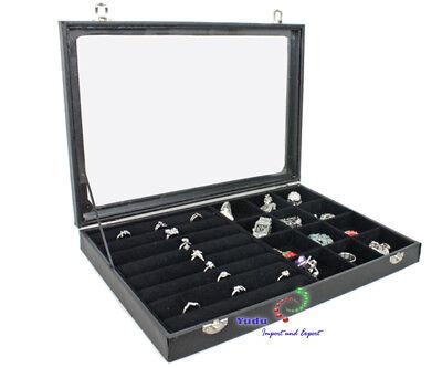 Schmuckasten Schaukasten Glasdeckel für Ringe mit 12 Fächern schwarz